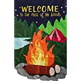 Our Neck of the Woods Applique House Flag Camp Fire Tent Lake Camping 28