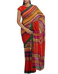 Unnati Silks Women Orange-Multicolor Georgette Saree