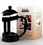 CoffeeGet 6 Cup French Press Coffee Maker, Extra thick Heat Resistant Glass - 27 Ounce French Press Makes Coffee For 2-3 People In Just 4 Minutes - Commercial Grade Stainless Steel Press. 3 coffee screen replacements included.