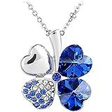 Le Premium® Vier Blatt Klee Halskette MADE WITH SWAROVSKI® ELEMENTS herzförmigen Swarovski Saphirblau kristalle