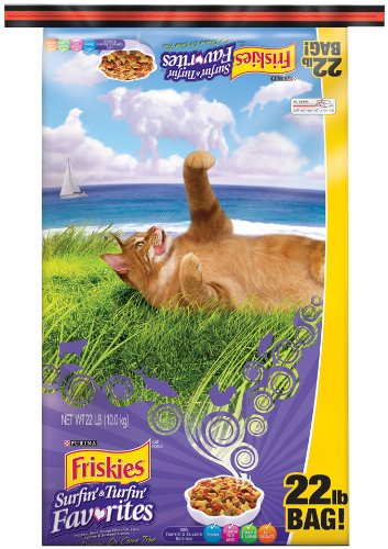 Friskies Dry Surfin' and Turfin' Favorites Dry Food Bag for Cats, 22-Pound