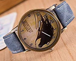 Zeen - Fashion Retro Casual Dress leisure dress BU Cowboy Jeans Leather Band Quartz Analogue Smart Watch + with extra cell