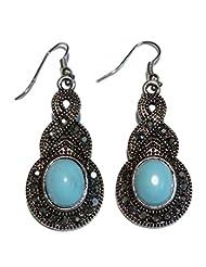 Boun Fashions Metal Based Antiquepolish Earings With Sky Blue Stone Engraved - B00OAZ8YD6