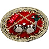 Pooja Thali | Pooja Thali Set | Decorative Pooja Thali | Pooja Thali For Mandir | Pooja Thali For Gift (5, Red)