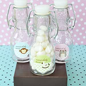 baby animal personalized mini glass bottle baby shower