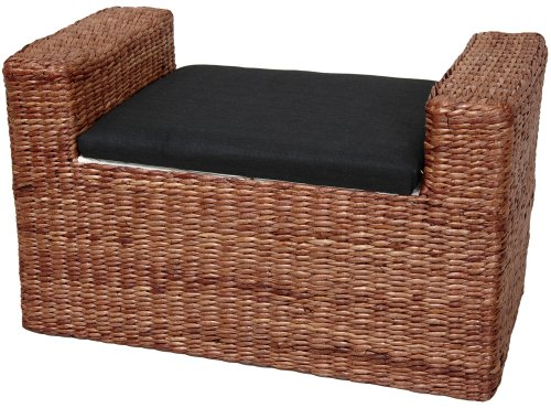 Oriental Furniture Rustic Window Seat Trunk, 26-Inch Rush Grass Storage Bench, Dark Brown