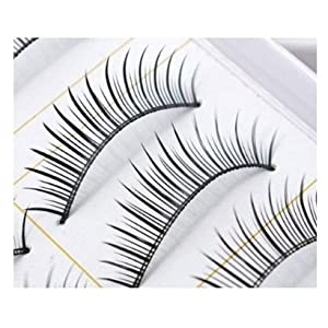 SODIAL(R) 10 Pairs of Reusable Natural & Regular Long False Eyelashes