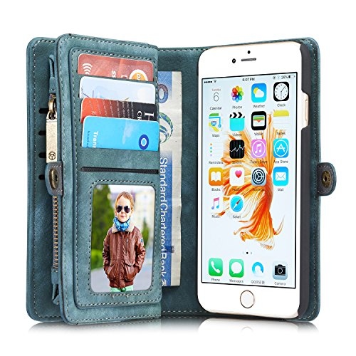 Best Price! iPhone 6 Case iPhone 6S Case, Charminer Multi-slot Retro Zipper Wallet Leather Detachabl...