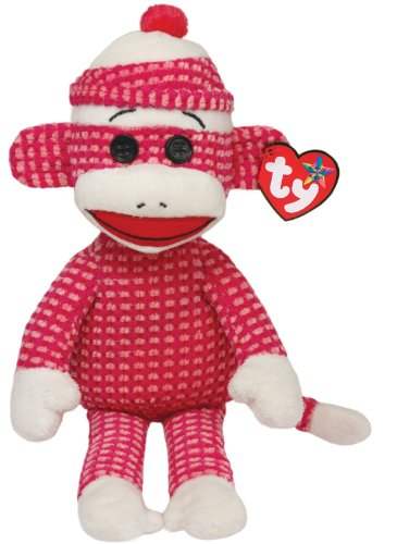 Ty Beanie Buddies Sock Monkey Plush, Pink Quilted, Medium