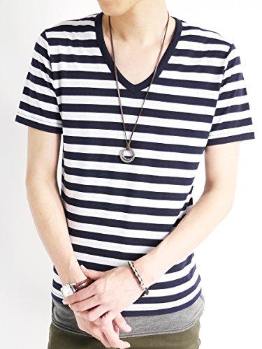(モノマート) MONO-MART 深 Vネック カットソー 半袖 薄手 細身 サマー Tシャツ ネック タイト ボーダー ホワイト モード 爽やか 軽快 デザイナーズ メンズ