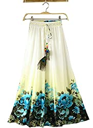Women's Skirt,white (white blue)