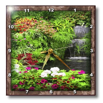 3dRose dpp_41283_2 Flowers and Waterfall Wall Clock, 13 by 13