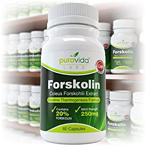 Forskolin Extreme Thermogenesis Formula - Pharmaceutical Grade 20 Forskolin 250mg 60 Vegetable Capsules from PuraVida Labs