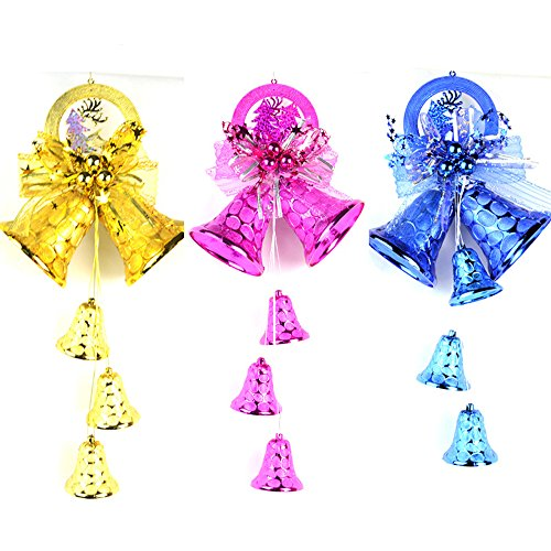 S&C 1PCS Multi-Color New Year Christmas Decoration Christmas Bells Hanging Party Decorations Gift Christmas Party Ornament Decorations (Blue)