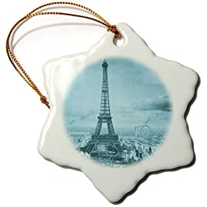 Scenes from the Past Eiffel Tower Paris France, 1889 Cyan Snowflake Porcelain Ornament, 3-Inch