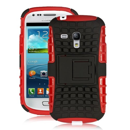 Jkase Diablo Series Tough Rugged Dual Layer Protection Case Cover With Build In Stand For Samsung Galaxy S3 Iii Mini I8190 - Retail Packaging (Red)