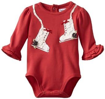 Hartstrings Baby-Girls Newborn Interlock Ice Skate Bodysuit, Red, 0-3 Months