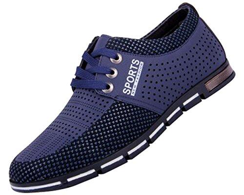 CANRO-Zapatos-de-Cuero-con-Cordones-para-Hombre-Negro-Marrn-Azul