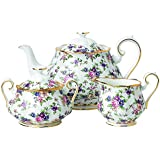 Royal Albert 3 Piece 100 Years 1940 Teapot, Sugar & Creamer Set, Multicolor