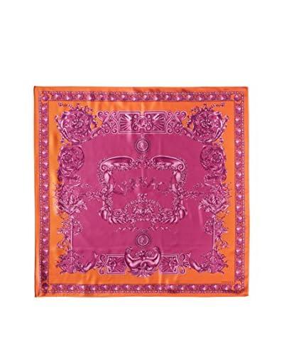 Versace Women's Patterned Silk Scarf, Pink/ Orange