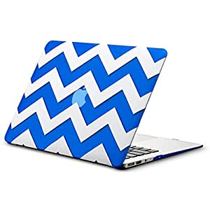 "Kuzy - AIR 13-inch Chevron BLUE Rubberized Hard Case for MacBook Air 13.3"" (A1466 & A1369) (NEWEST VERSION) Shell Cover - Chevron BLUE"