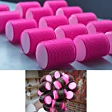 20 X PINK VELCRO HAIR ROLLERS CURLERS SLEEP IN SOFT HAIR STYLING EASY USE