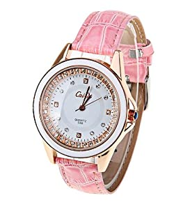 CaiQi Women Water Resistant Watch Pink Leather Band Wrist Watch 598
