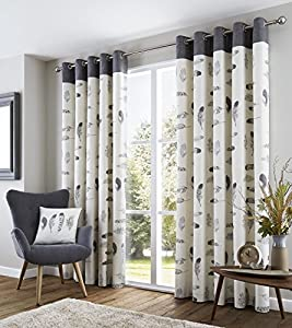 """Feather Grey Cream Beige White 46x54"""" 117x137cm Lined 100% Cotton Ring Top Curtains by Curtains"""