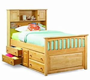 Capt's Bookcase w/ Underbed 4 Drawer Chest Natural Maple/Twin