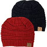 Black Thick Slouchy Knit Oversized Beanie Cap Hat
