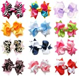 "HipGirl Boutique Girls 12pc Set Small 3"" Spike Hair Bow Clips, Barrettes. In Gift Box"