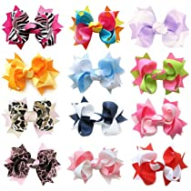 HipGirl Boutique Girls 12pc Set Small 3 Spike Hair Bow Clips Barrettes. In Gift Box