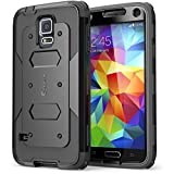 i-Blason Samsung Galaxy S5 Case - Armorbox Dual Layer Hybrid Full-body Protective Case with Front Cover and Built-in Screen Protector / Impact Resistant Bumpers (Black)