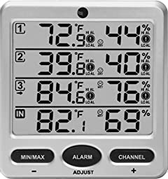 Ambient Weather WS-10-C Wireless Indoor/Outdoor 8-Channel Thermo-Hygrometer, Console Only