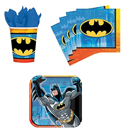 Batman Birthday Party Supplies Set Plates Napkins Cups Kit for 16 at Gotham City Store