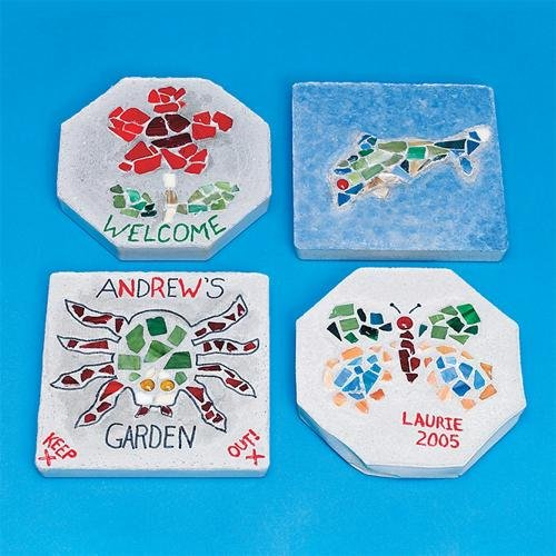 S&S Worldwide Mosaic Stepping Stone Craft Kit (Makes 6)