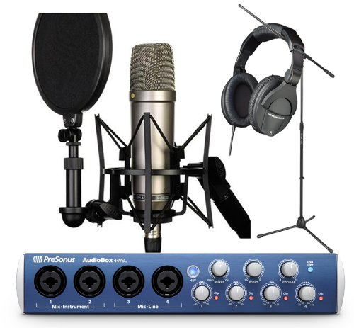 Rode NT1-A Cardioid Condenser Microphone Recording Package with Presonus Audiobox 44VSL, Studio One Artist Recording Software, Sennheiser HD280 Pro Professional Studio Headphones and a Tripod Base Microphone Floor Stand – Black
