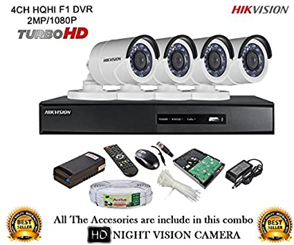 Hikvision-DS-7204HQHI-E1-4CH-Dvr,-4(DS-2CE16DOT-IR)-Bullet-Camera-(With-Mouse,-Remote,1TB-HDD,-Bnc&Dc-Connectors,Power-Supply,Cable)