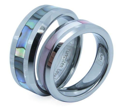 Matching Comfort Fit High Polish Tungsten Carbide Rings 8mm (Size 9,10,11,12 Available) with Abalone Inlay Inlay His & 6mm (Size 6,7,8 Available) with Pink Shell Inlay Hers Set Aniversary/engagement/wedding Bands