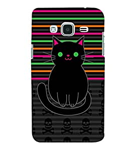 Danger Skull Sharp Cat 3D Hard Polycarbonate Designer Back Case Cover for Samsung Galaxy J3 (6) J320F :: Samsung Galaxy J3 (2016)