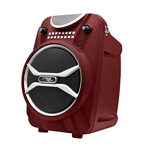 Pyle Boom Rock Pwmab210Rd Bluetooth Karaoke Speaker Recording System, Rechargeable Battery, Wireless Mic, Usb/Sd Readers
