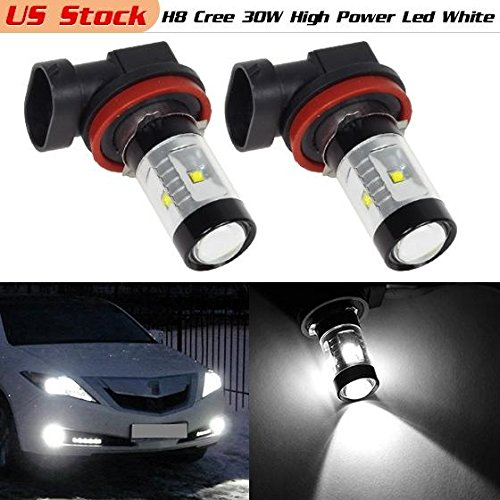 Partsam 2PCS H8 H11 6-Cree-XB-D White 30W Genuine Cree High Power Led for Fog Driving Light Bulbs for FORD Fusion CADILLAC CTS (Fog Lights For Cadillac Cts compare prices)