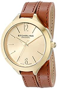 Stuhrling Original Women's 568.04 Deauville Sport Swiss Quartz 23K Gold Plated Brown Genuine Leather Wrap Around Strap Watch