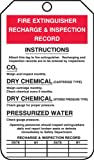 "Accuform Signs MGT208CTP Fire Extinguisher Tag, Legend ""FIRE EXTINGUISHER RECHARGE & INSPECTION RECORD"", 5.75"" Length x 3.25"" Width x 0.010"" Thickness, PF-Cardstock, Red/Black on White (Pack of 25)"
