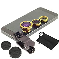 ApeCases Branded Universal 3 in 1 Cell Phone Camera Lens Kit - Fish Eye Lens / 2 in 1 Macro Lens & Wide Angle Lens (Gold)