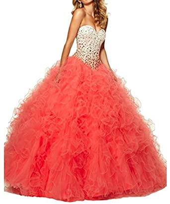 Aisha Womens' Sweetheart Crystal Beads Ball Gown Sweet 16 Quinceanera