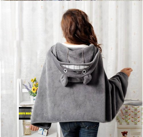 Anime Large Cute Totoro Cosplay Cloak Hooded Plush Toys Shawl Cape Wrap Blanket (Adult Hooded Blanket compare prices)