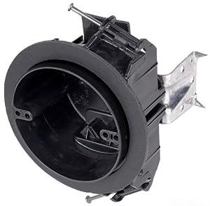 Carlon FN-CFB Ceiling Fan/Fixture Box, New Work, Vapor-tight, 4-Inch Diameter by 2-3/4-Inch Depth, Black