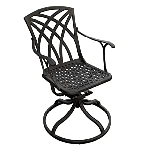 Versailles Cast Aluminum Swivel Rocking Chair - Black by Maycreek