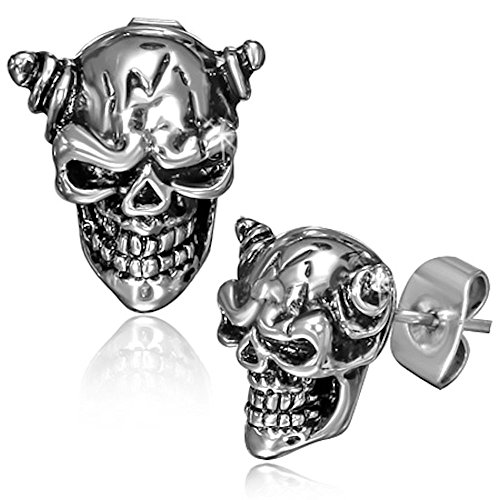 09ee3c5d3 Chilling Two-tone Repousse Side-horned Stainless Steel Vampire Skull Stud  Earrings - Buy Online in Oman. | Jewelry Products in Oman - See Prices, ...